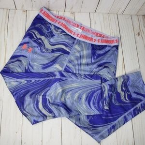 Under Armour Blue Gray Marbled Fitness Capris